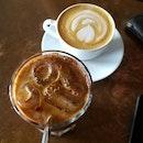 latte ($5) & iced mocha ($7)