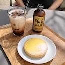 lemon tart ($5.80), iced mocha ($7.50) & white cold brew ($8)