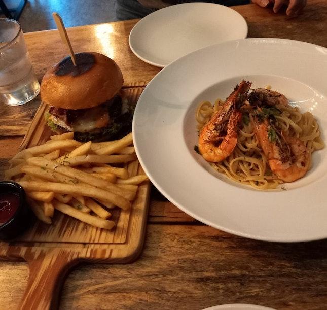 Armoury burger & Garlic prawn linguine (burple beyond)