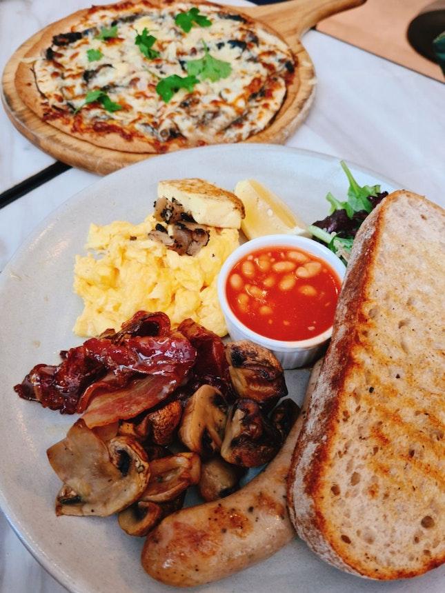 truffle pizza & breakfast platter