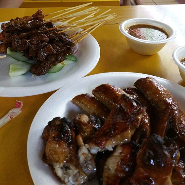 Chicken wings and mutton satay.