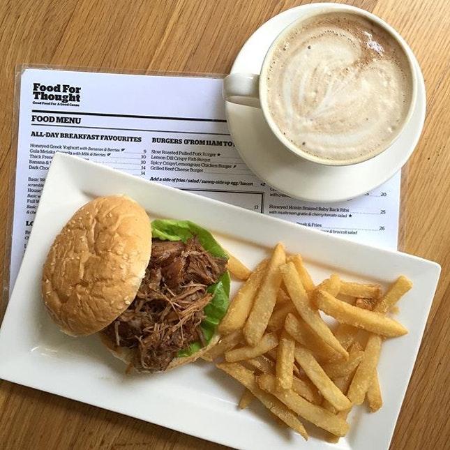 Pulled pork burger set meal [$13] with an additional $2.50 top up to switch the soft drink for a cup of mocha.