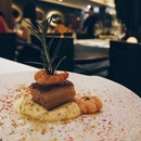 "One of the mains for the Restaurant Week menu: Braised pork belly ""stracotto"" and polenta corn served with prawns, garlic, and lemon ""gremolata""."