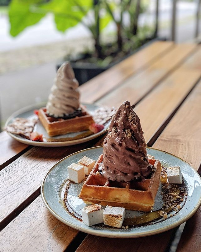 Double the dose, Double the sweetness~ Using #burpplebeyond, I can happily have two single Waffles with Softserve ($10.70) at the price of one!
