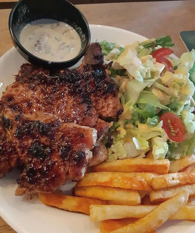 The life of a big piece of pork steak..