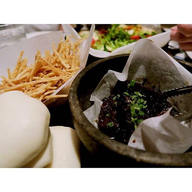 Asian Sliders aka Kong Bah Bao with truffle taro fries.