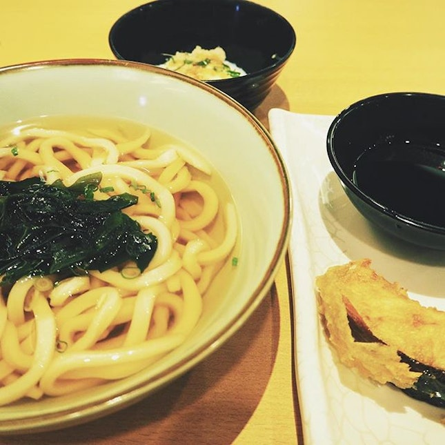 Dinner for one; kake udon, soft-boiled egg, and pumpkin tempura for $8.30.