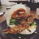Soft shell crab steamed bao (RM15) .