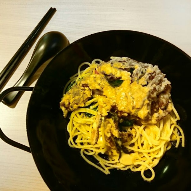 Salted Egg Yolk Crab Spaghetti