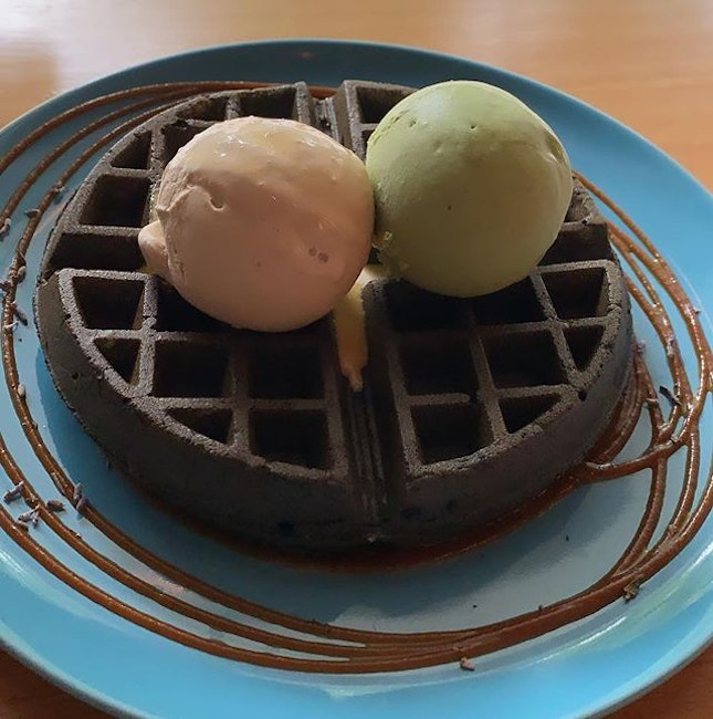 Crispy fluffy waffles - atop with smoked oolong and sea salt matcha.