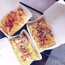 Prawn Aglio, Bacon Aglio & Chicken Sausage Cream Pasta ($4.80 each) that comes with iced tea.