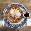 full waffle with salted caramel and cinnamon icecream