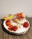 Vanilla Panna Cotta with housemade sorbet!