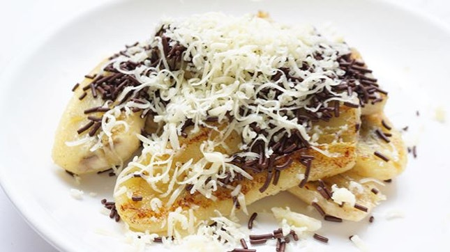 Grilled banana with chocolate and cheese.
