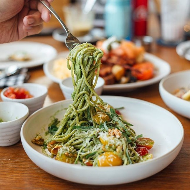 Roast - One of the most popular cafe in BKK - A must try is the Zucchini Pesto Pasta with walnuts.