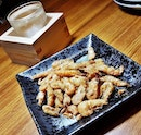 Kawa Ebi Karaage / Deep-Fried River Shrimp (SGD $8.90) & Sake Gekkeikan Traditional (SGD $8 per glass) @ Q-WA Bar & Yakitori.
