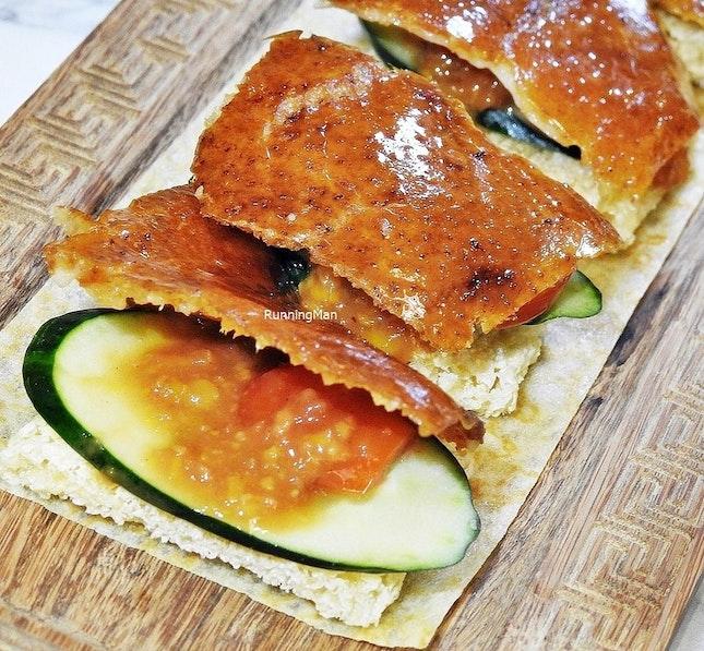 Sliced Peking Duck Skin With Crackers (SGD $4.80 per piece) @ Kai Duck.