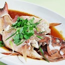 Steamed Red Spotted Grouper Hong Kong Style (SGD $6.10 for 100g, $48.80 for 800g) @ Hong Kong Chef's Kitchen.