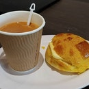 Breakfast this morning - Polo Bun with HK Milk Tea Set $3.