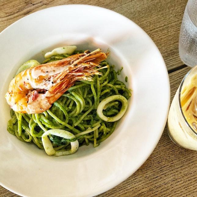 Spinach Cream Spaghetti