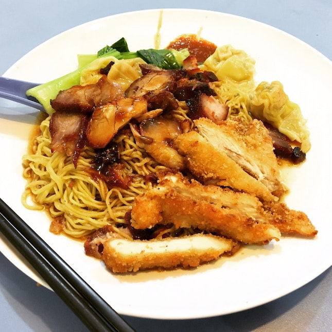 Wanton Mee with Chicken Cutlet • S$6