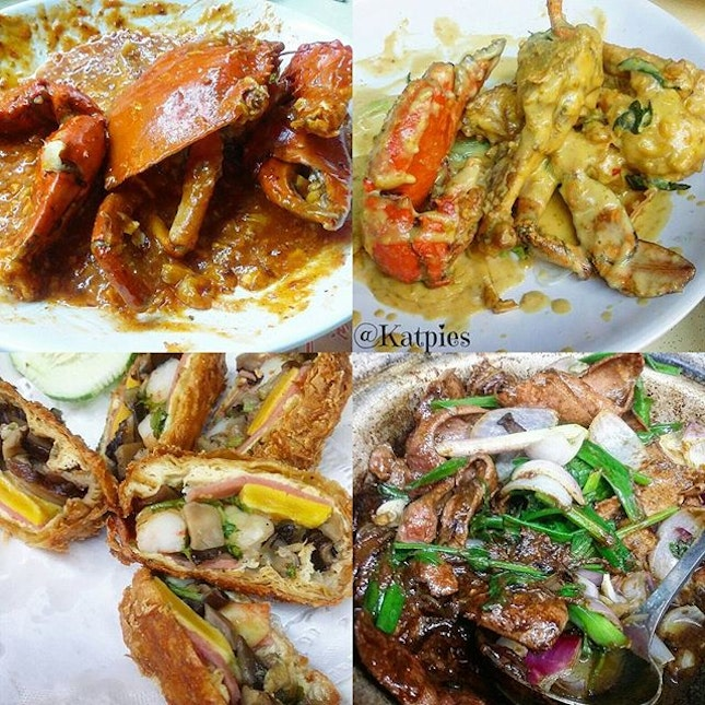 Chilli Crab, Salted Egg Yolk Crab, Claypot Liver and Mingzhu Roll.