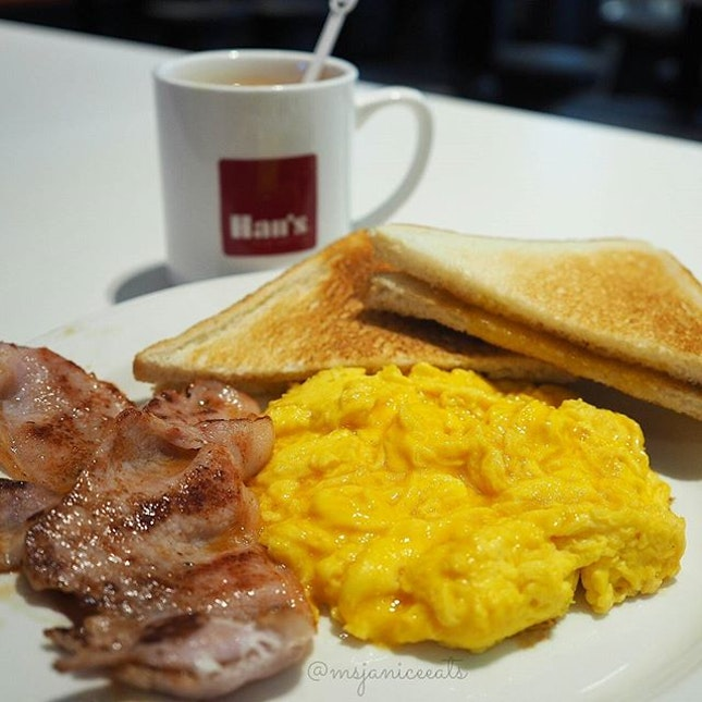Scrambled Egg with Bacon Breakfast Set (with Teh-Si)(S$7.20) 🍳 I definitely started the day on a good note!