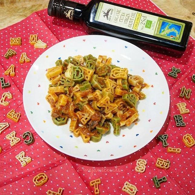 """🍝 Alce Nero Tricolore Alphabet Pasta in Tomato Sauce with Porcini Mushroom 🍝  Can you spot the words """"Alce Nero"""" in the photo?"""