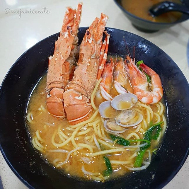 🦐 [NEW] Lobster, Clam & Prawn Noodle (Soup/Dry)(S$18.00 Half Lobster/S$28.00 Whole Lobster) 🦐  Soupy goodness brimming with the rich umami flavours of fresh lobsters, prawns and clams.