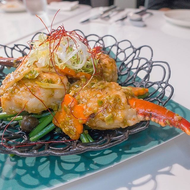 Stir-fried lobster claw wrapped in shrimp and coated with petai bean sauce - a vision to behold as well as a gastronomic treat for the taste buds.