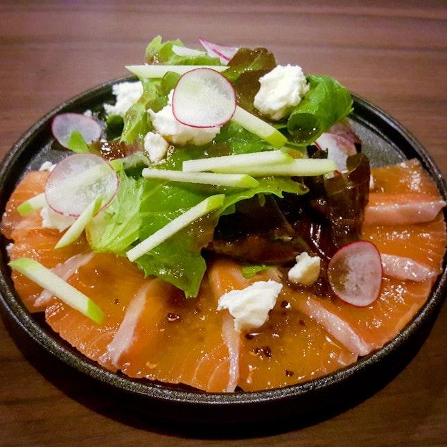 Salmon Sashimi Salad ($15.80)
