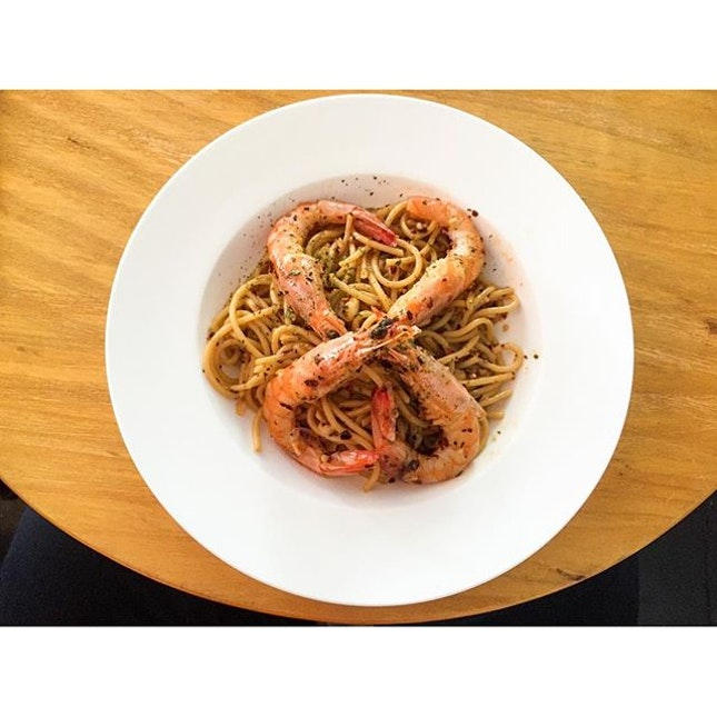 Prawn Aglio Olio $18 This is very chill laid back cafe.
