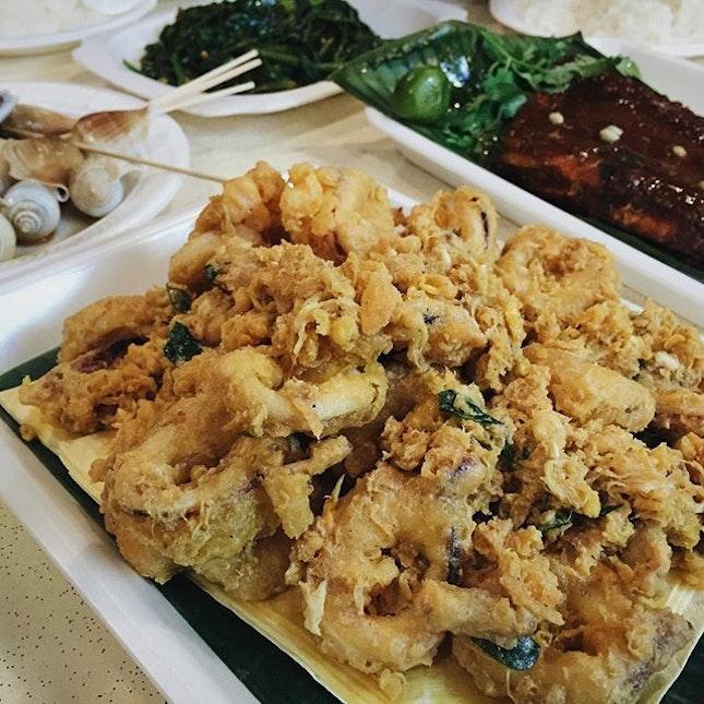 Salted egg calamari by Sheng Da BBQ Seafood.