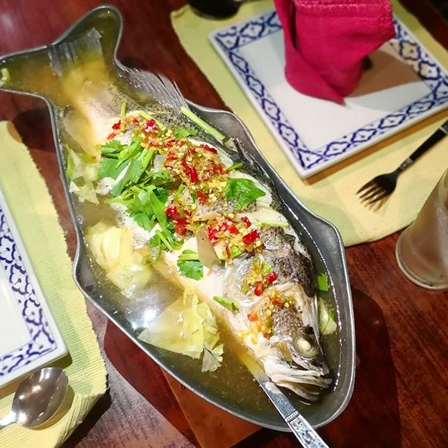 Steamed Seabass in Lime; Head to Ban Khun Mae at Siam for authentic Thai cuisine and experience.