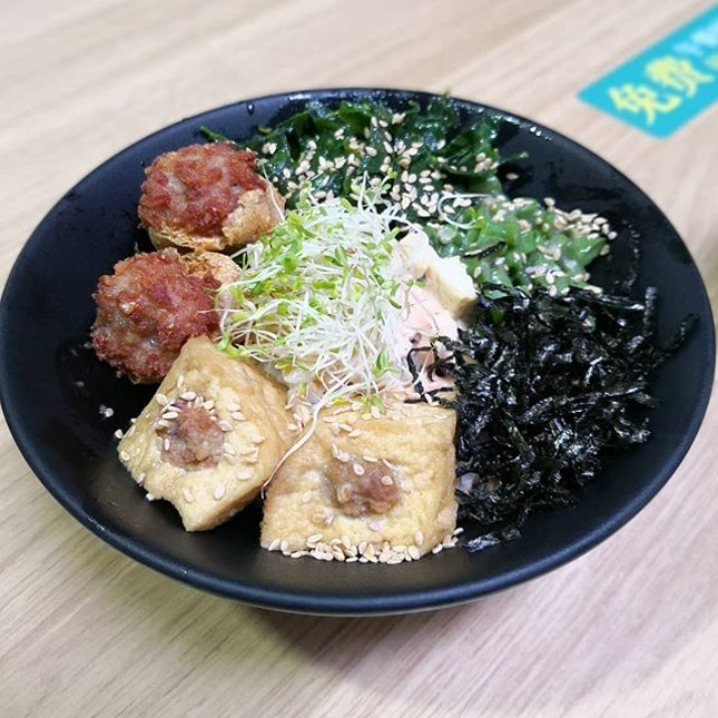 Hakka Tofu Bowl($5.50); is a combination of traditional dishes between Yong Tau Foo and Thunder Tea Rice, (aka Lei Cha) with a touch of Japanese element in the form of presenting the dish in Donburi (a type of Japanese Rice Bowl).