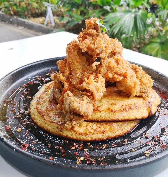 Chicken & Pancakes ($19nett); Fried chicken on house-made buttermilk pancakes served with chilli maple.