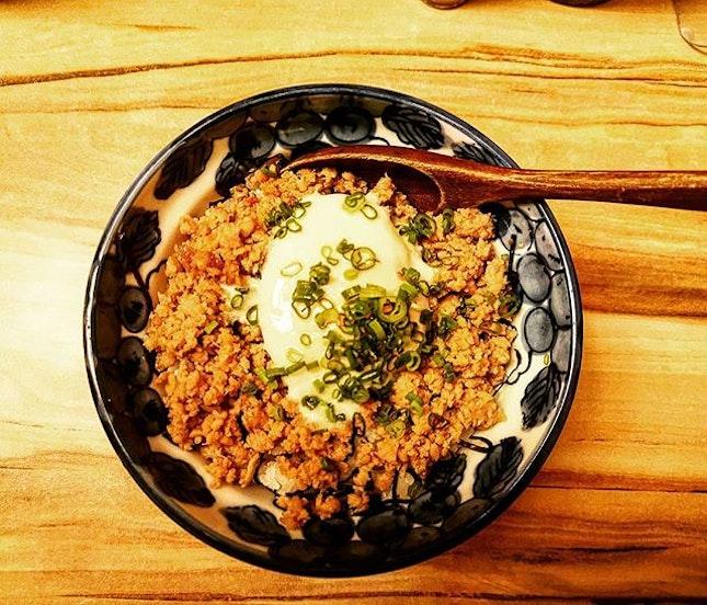 Enjoy chicken skewer with kushi...