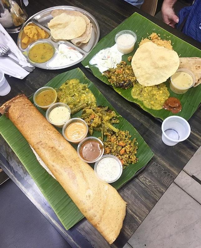 The spread at Komala Vilas.