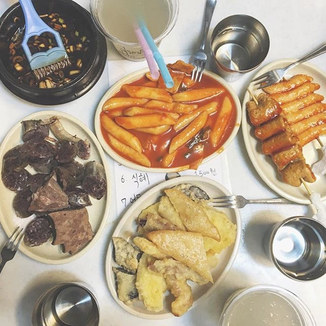 ; we'll have one of everything  Right at the foot of Hanok Village, a random cozy place run by 5 ahjumas serving the most traditional Korean street snacks.