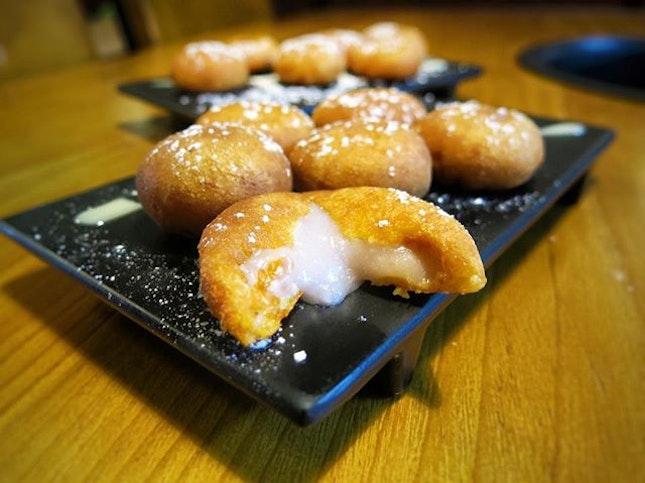 ; Crispy Taro Balls  Mashed Taro and Orange Sweet Potato encased in a thin crisp yet slightly chewy fried shell.