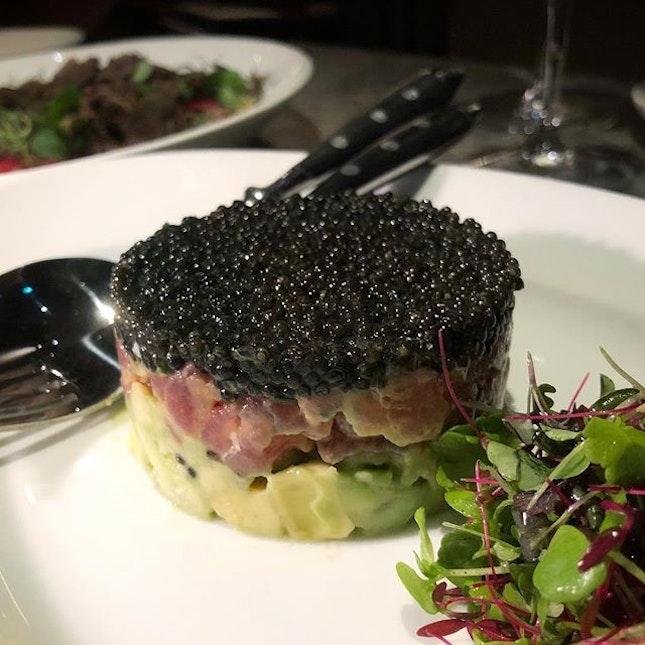 ; Luxuries of the Sea 🖤  Creamy Avocado, Yellowfin Tuna Tartare and Kaluga Queen Caviar.