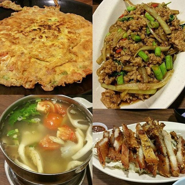 Minced Pork omelette, Minced pork with basil leaves, Deep fried pork belly, Tomyum Seafood Soup, 2 rice & 2 thai ice milk tea ($46 for 4pax).