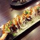 Ebi prawn aburi sushi roll.