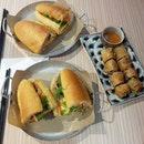 Grilled Pork and Lemongrass Chicken Banhmi plus fried spring roll for lunch!