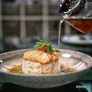 Salmon Ochazuke ($24.00) Norwegian Salmon with Edamame, Salmon Caviar and Smoked Tea Dashi on Japanese Rice.
