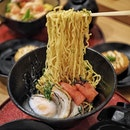 Mentaiko Mazesoba ($12.80 / $13.80 with onsen egg) with generous serving of mentaiko and mayonnaise.