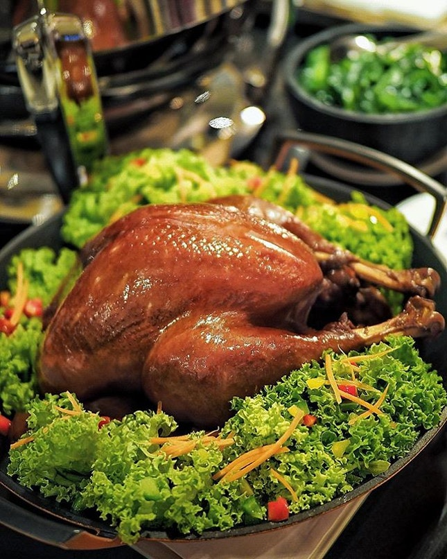 Soy-Braised Turkey served with Toasted Spiced Almonds and Homemade Chilli Sauce ($238.00 for 8 to 12 pax) .