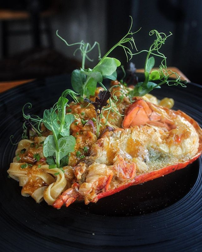 Chilli Crab Lobster Tagliatelle $28++ Comb through al-dente strands of HOMEMADE tagliatelle, tossed in a pool of tangy chilli sauce heaped with chunky nuggets of lobster meat.