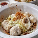 Dry fishball noodles ($6.00/medium) from Song Kee Fishball Noodle.
