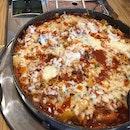 spicy chicken + ramen + cheese